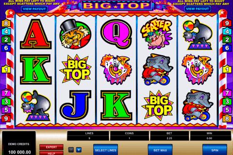 big top microgaming free slot